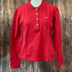 Red Lacoste long sleeve polo size 42